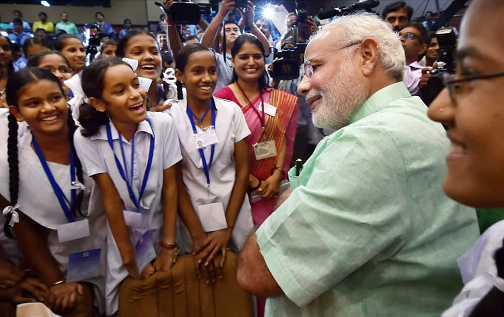 Prime Minister Narendra Modi during an interaction with school students on the occasion of Teachers' Day in New Delhi.
