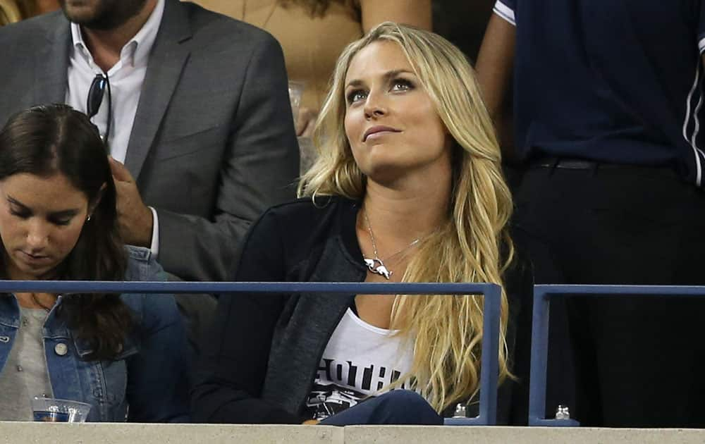 Skier Lindsey Vonn attends the quarterfinal match between Roger Federer, of Switzerland, and Gael Monfils, of France, at the US Open tennis tournament.