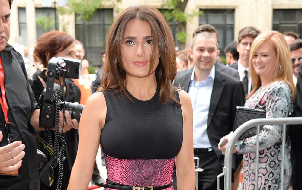 Producer Salma Hayek attends the `Kahlil Gibran's The Prophet` premiere during the Toronto International Film Festival.