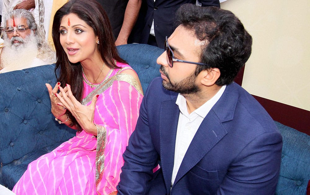 Bollywood actor Shilpa Shetty with her husband Raj Kundra at an event in Jaipur.