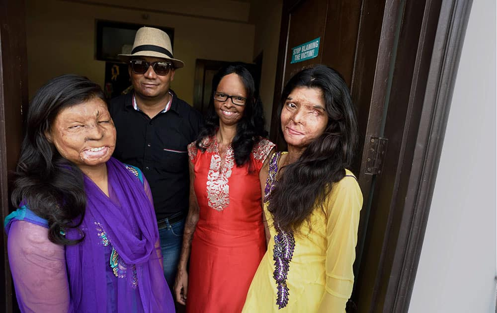 Acid attack victims, Rupa, Chandrahas, Laxmi and Ritu who feature in a new documentary film by photographer Rahul Sharan on Indian acid attack victims in New Delhi.