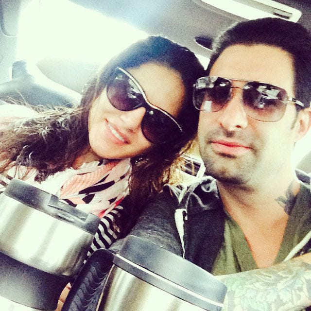 sunny leone - Morning coffee and off to set with @dirrty99. -instagram