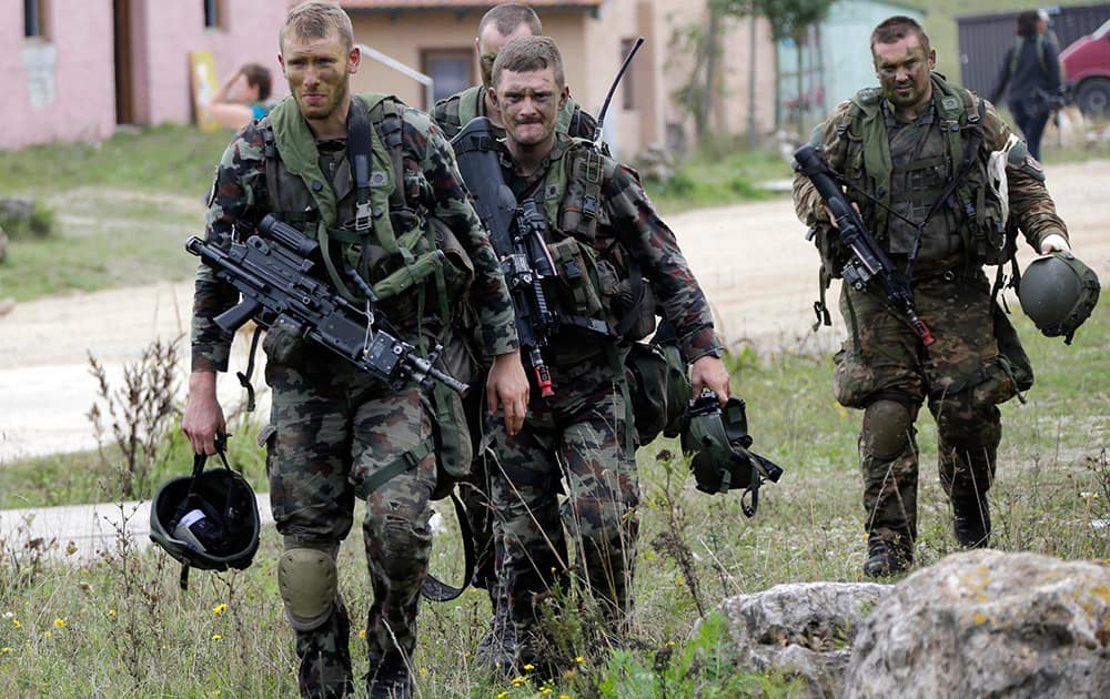 Soldiers from NATO countries take part in an exercise called 'Saber Junction' at the military area in Hohenfels near Regensburg, southern Germany.