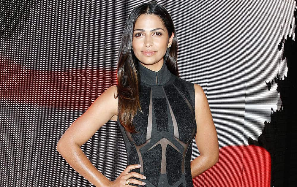 Model Camila Alves poses at the MBFW Spring/Summer 2015 Donna Karen Fashion Show in New York.