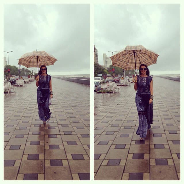 neha dhupia - #picstitch the look #anitadongre #curiocottage #ekeestopoonkisalaami #toddekatar launch #mumbai #rains. -instagram