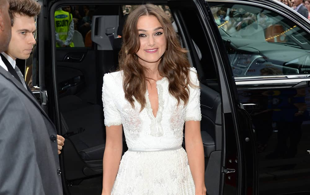 Keira Knightley attends the premiere of `The Imitation Game` on day 6 of the Toronto International Film Festival.