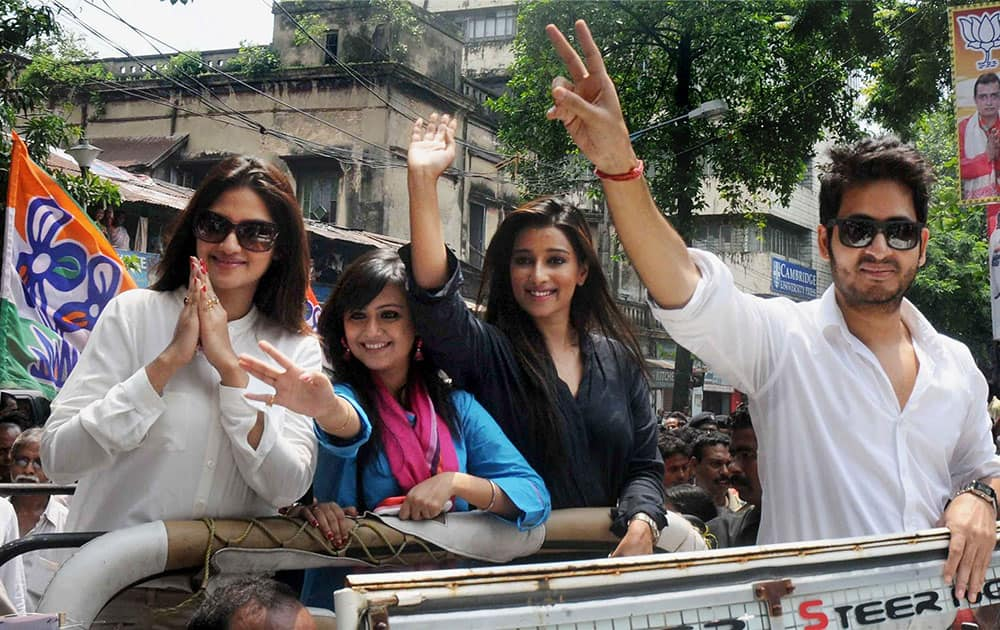 Tollywood actors campaigning for Trinamool Congress at a rally ahead of assembly bypolls in Kolkata.