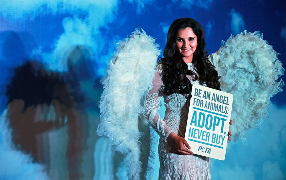 Tennis player Sania Mirza poses to promote vegetarianism for People for the Ethical Treatment (PETA) in Hyderabad.