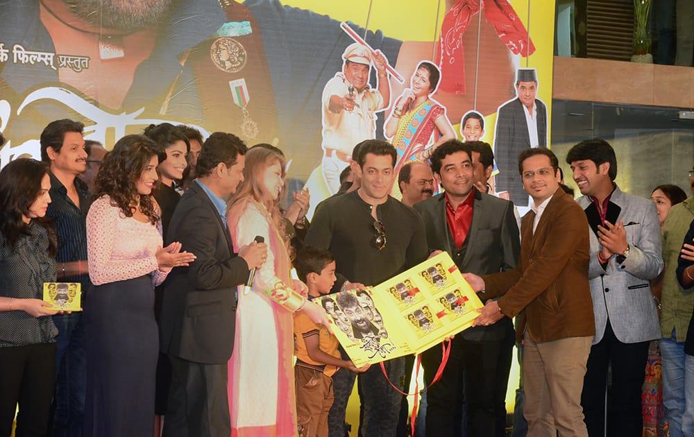 Bollywood superstar Salman Khan at the music launch of Marathi film 'Sangto Aika' in Mumbai. -dna