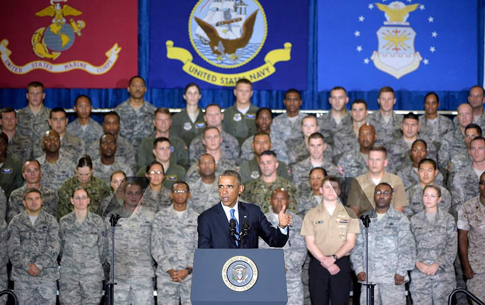 President Barack Obama speaks to a crowd of military personnel at US Central Command at MacDill Air Force Base in Tampa, Fla.
