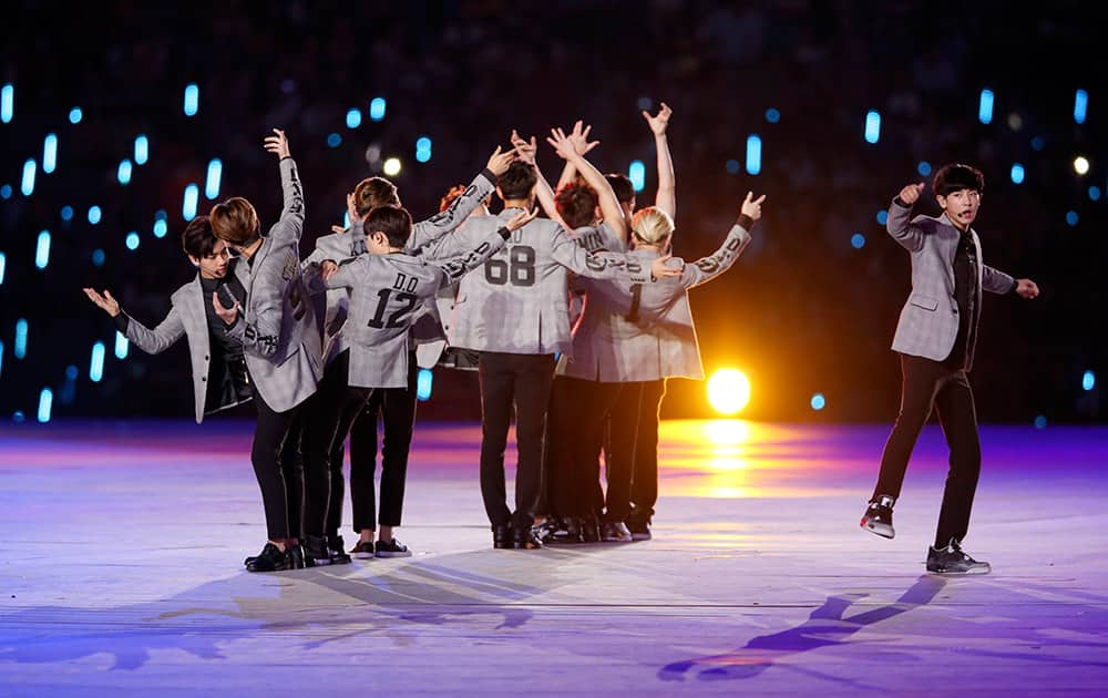 South Korean musical group Exo perform during the opening ceremony for the 17th Asian Games at Incheon Asiad Main Stadium in Incheon, South Korea.