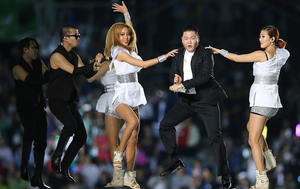 South Korean rapper PSY, performs at Incheon Asiad Main Stadium during the opening ceremony for the 17th Asian Games in Incheon, South Korea.