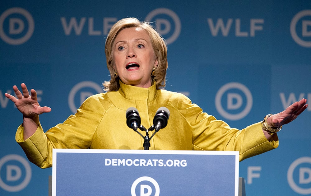 Former Secretary of State Hillary Rodham Clinton, speaks at the Democratic National Committee's Women's Leadership Forum in Washington.