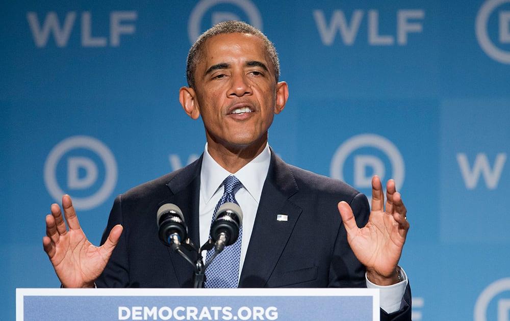 President Barack Obama, speaks at the Democratic National Committee's Women's Leadership Forum in Washington.