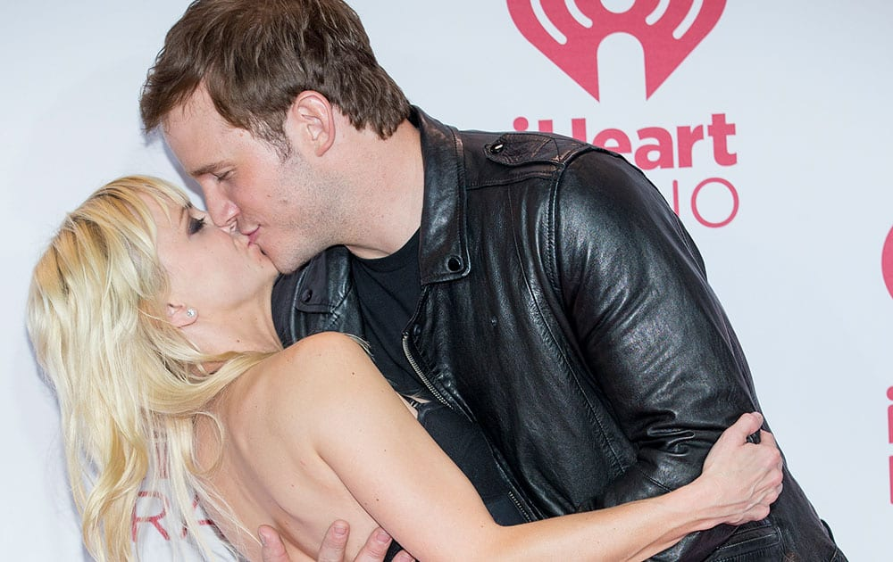 Anna Faris and Chris Pratt arrive at the iHeart Radio Music Festival, at The MGM Grand Garden Arena in Las Vegas.