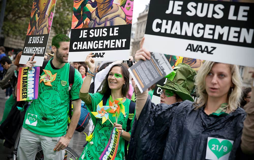 The crowd walks at People's Climate March Paris, in Paris France.