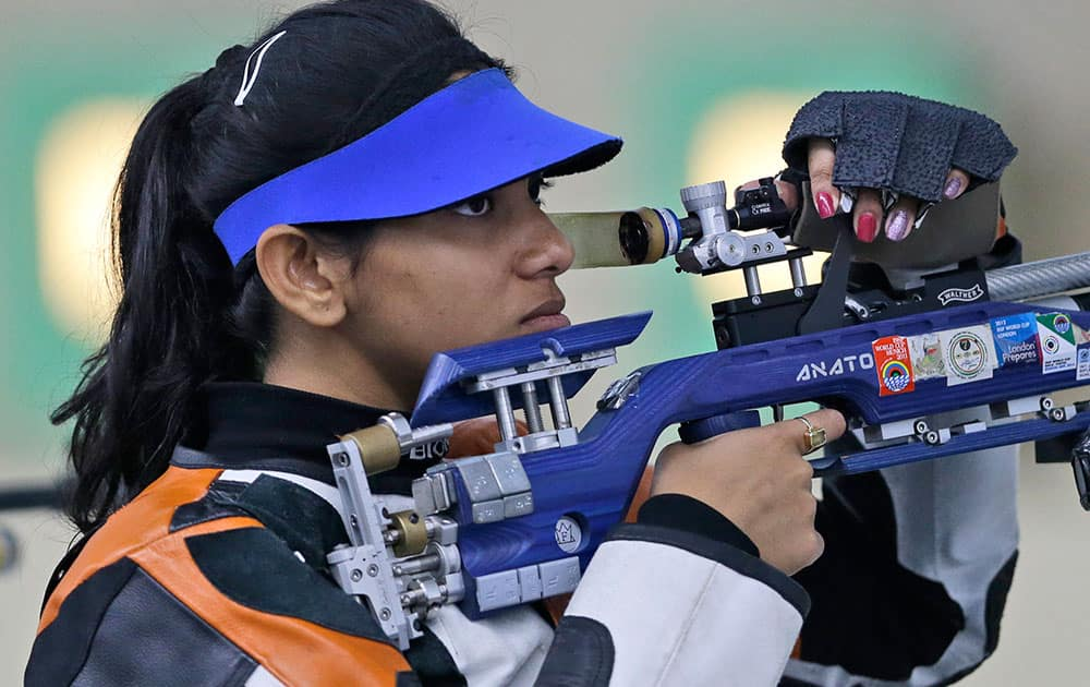 India's Ayonika Paul competes during the Women's 10m Air Rifle shooting competition at the 17th Asian Games at Ongnyeon International Shooting Range in Incheon, South Korea.