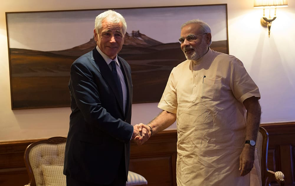 Prime Minister Narendra Modi with US Defence Secretary Chuck Hagel, during the latter's recent visit to India.