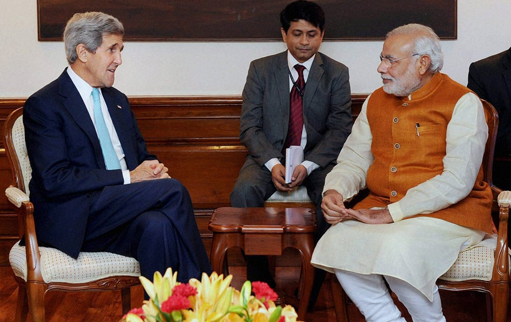 Prime Minister Narendra Modi holding talks with US Secretary of State John Kerry in New Delhi.