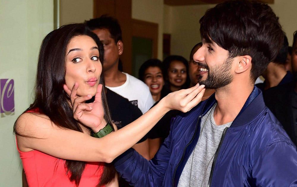 Shahid Kapur and actress Shraddha Kapoor during the promotion of their upcoming movie Haider in Bengaluru.