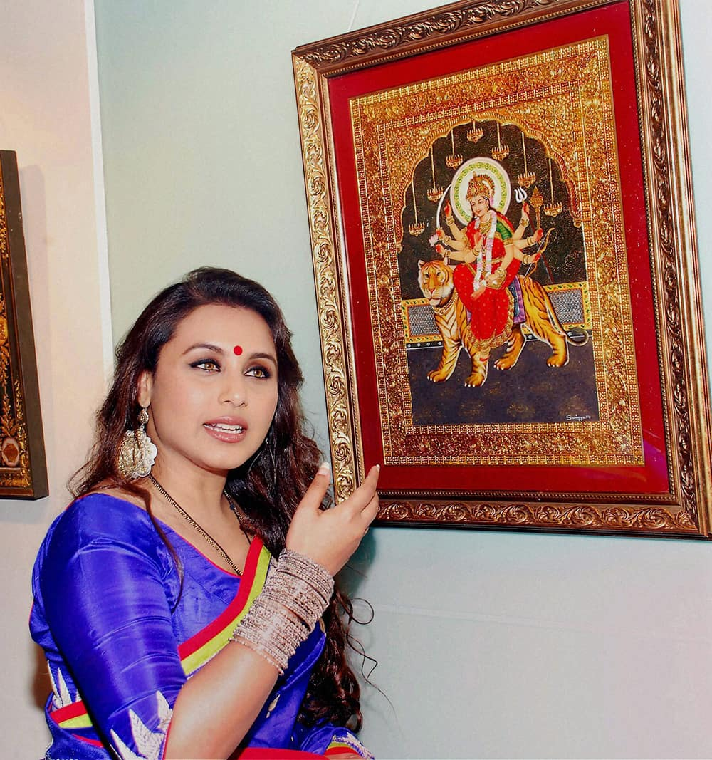 Rani Mukerji during the inauguration of an art show in Mumbai.
