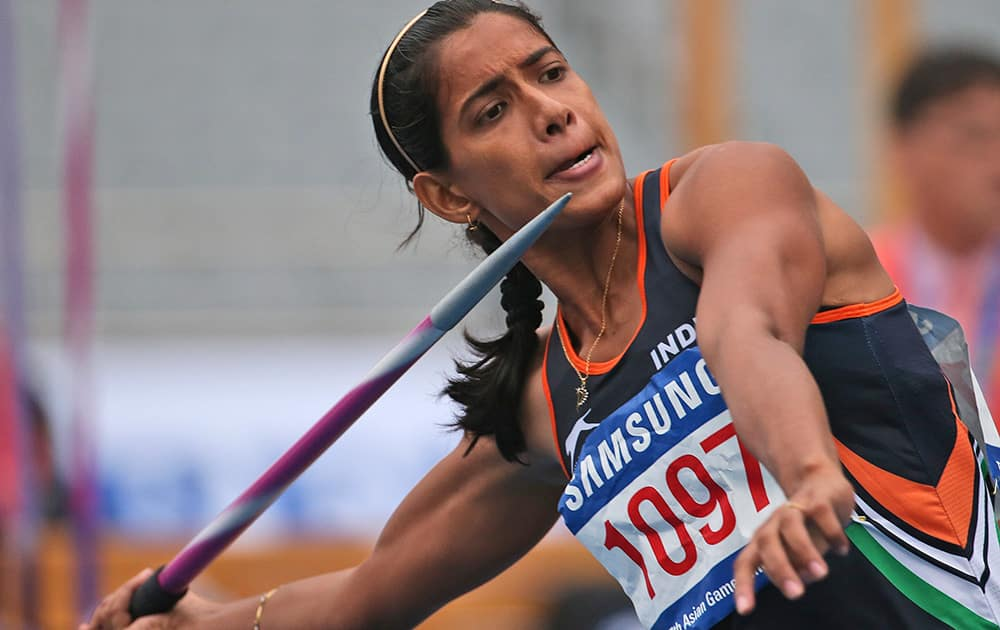India's Susmita Singha Roy competes in the women's heptathlon javelin throw at the 17th Asian Games in Incheon, South Korea.