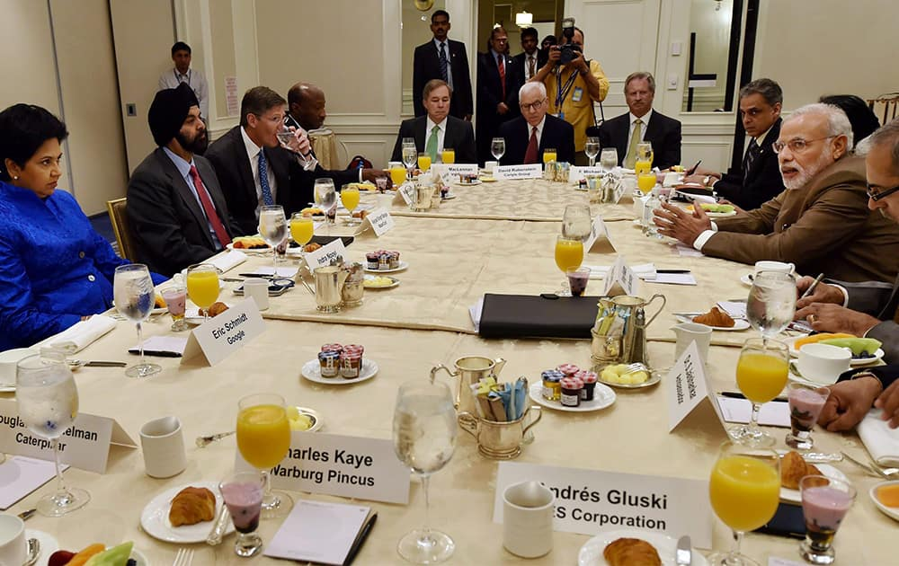 Prime Minister Narendra Modi during a breakfast meeting with CEOs in New York, US.