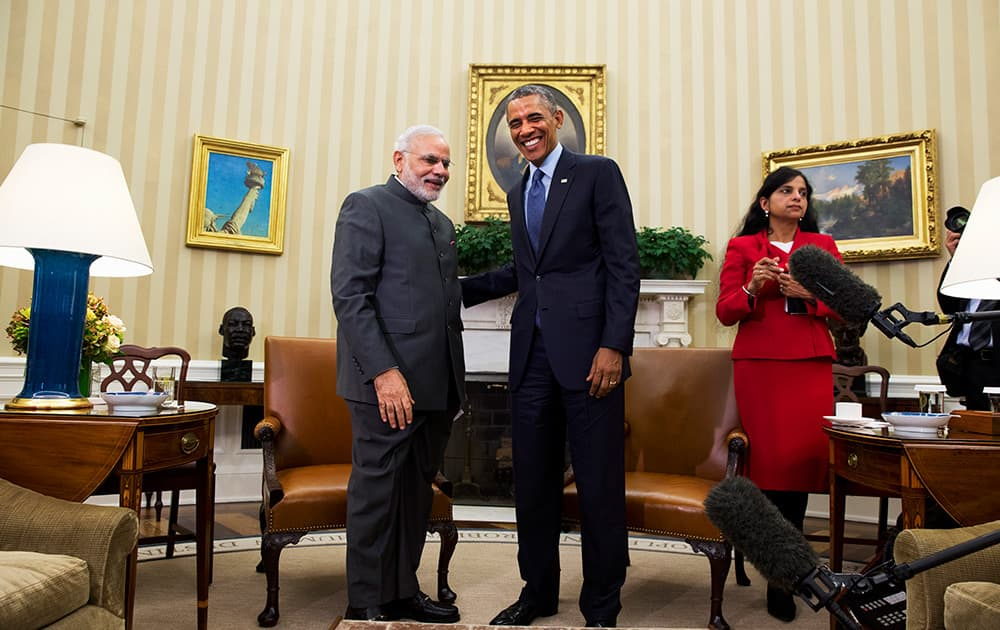 President Barack Obama meets with Indian Prime Minister Narendra Modi, in the Oval Office  of the White House in Washington.