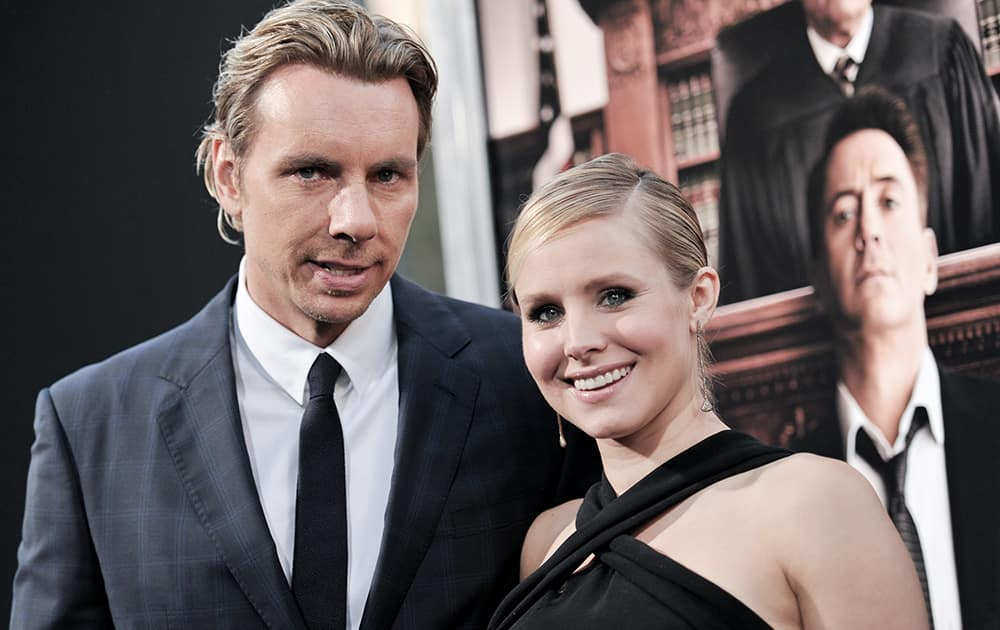 Dax Shepard, left, and Kristen Bell arrive at the LA Premiere OF 'The Judge', in Beverly Hills, Calif.