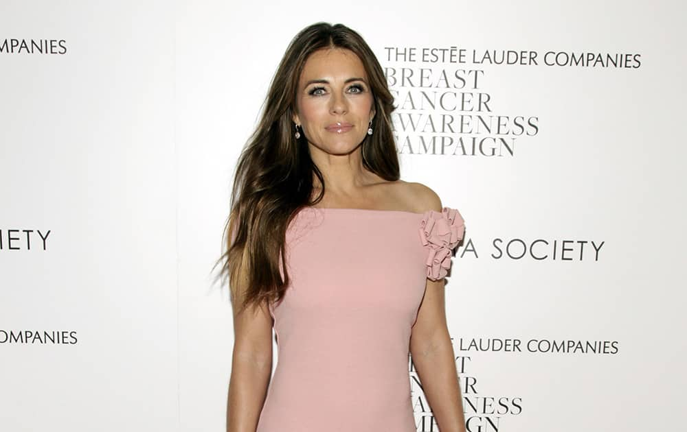 Elizabeth Hurley attends the premiere of 'Hear Our Stories. Share Yours.', in New York.