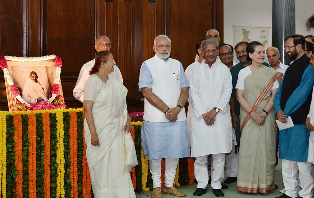 Prime Minister Narendra Modi, Lok Sabha speaker Sumitra Mahajan, Congress President Sonia Gandhi and others after paying tribute to former Prime Minister Lal Bahadur Shastri and Mahatma Gandhi on their birth anniversary at Parliament House in New Delhi.