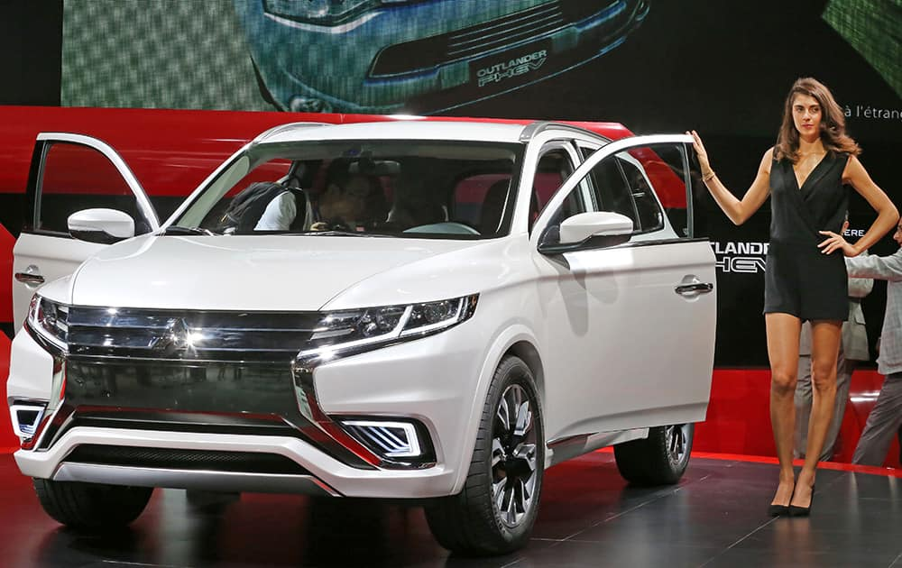 The Mitsubishi Outlander PHEV is presented at the Paris Motor Show, in Paris.