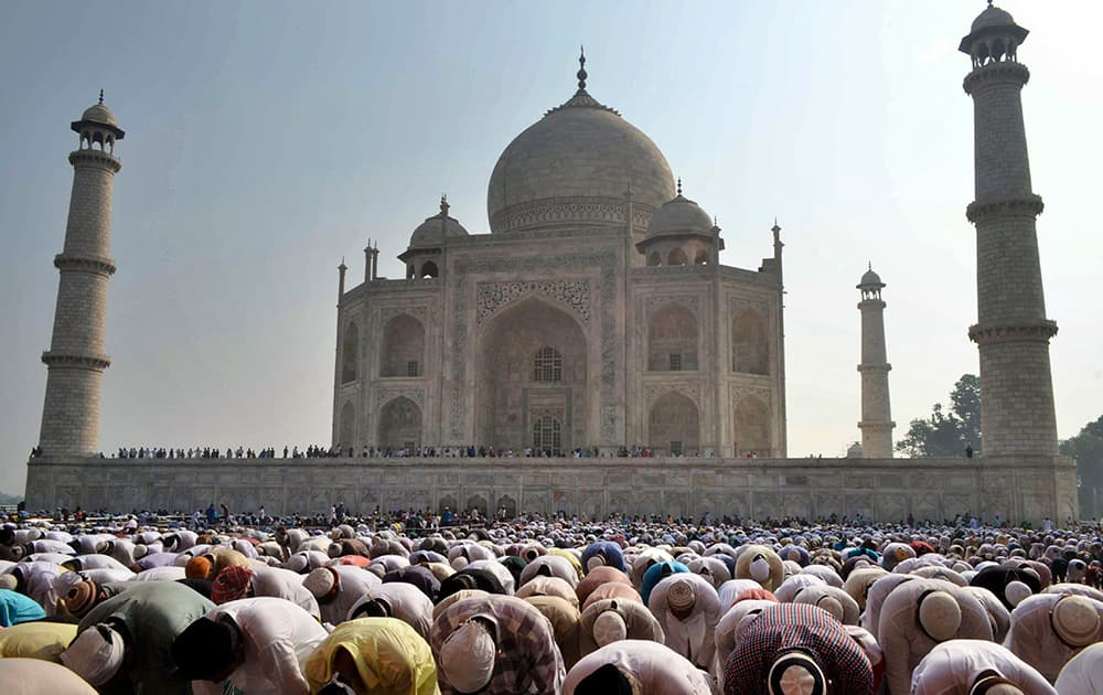 Muslims offer prayers during Eid al-Adha, or the Feast of the Sacrifice, at the Taj Mahal monument in Agra.