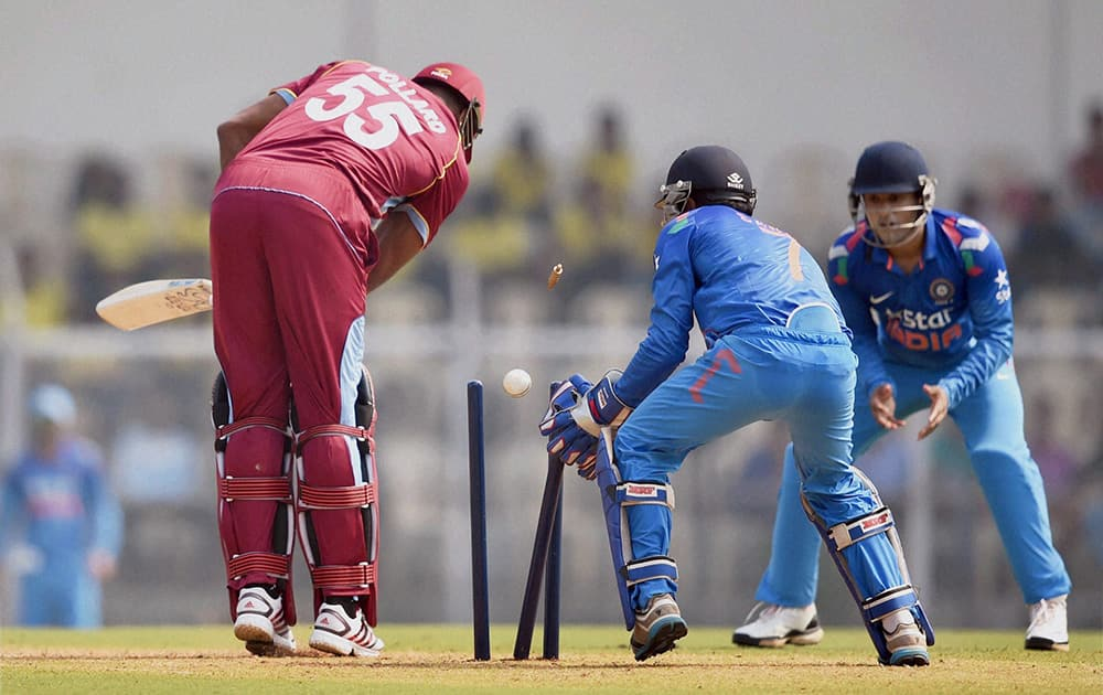 West Indies player Kieron Pollard gets bowled during a warm up match against India A team at Brabourne Stadium in Mumbai.