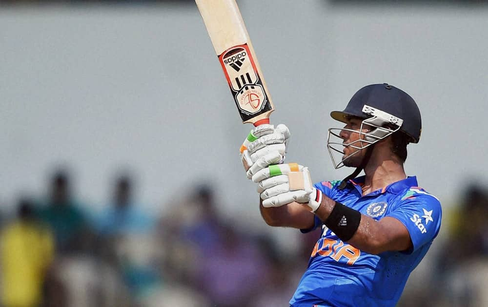 India A team player Unmukt Chand hits a shot during a warm up match against West Indies at Brabourne Stadium in Mumbai.