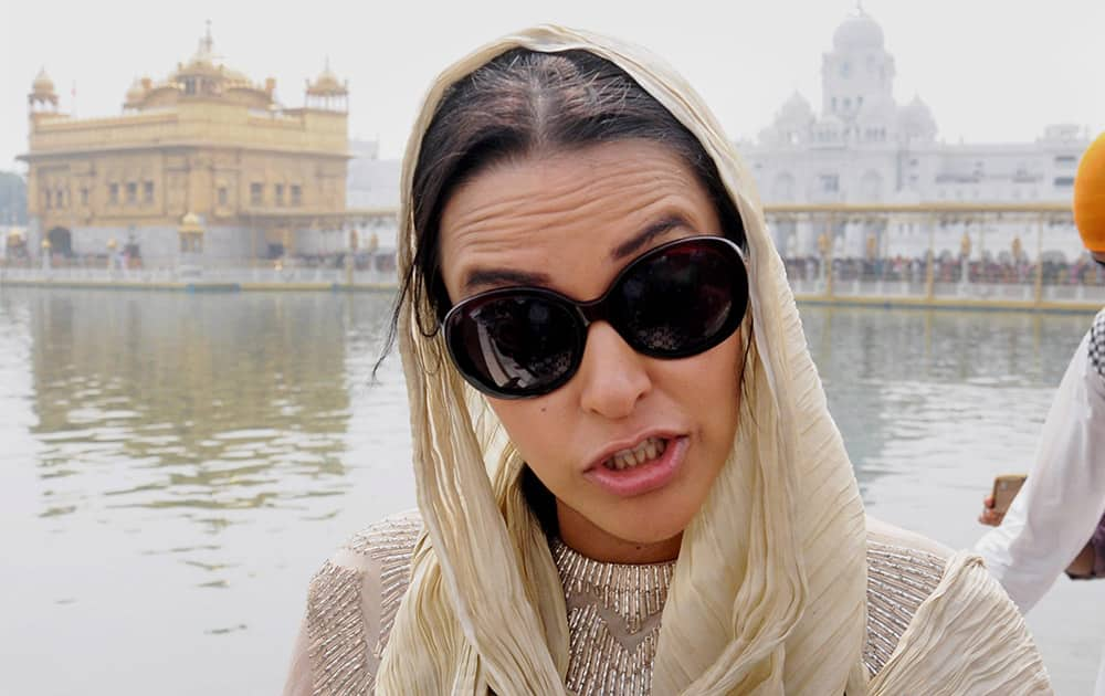 Bollywood actress Neha Dhupia during her visit to the Golden Temple as she arrived there to promote her upcoming film, 21 Topon ki Salami in Amritsar.