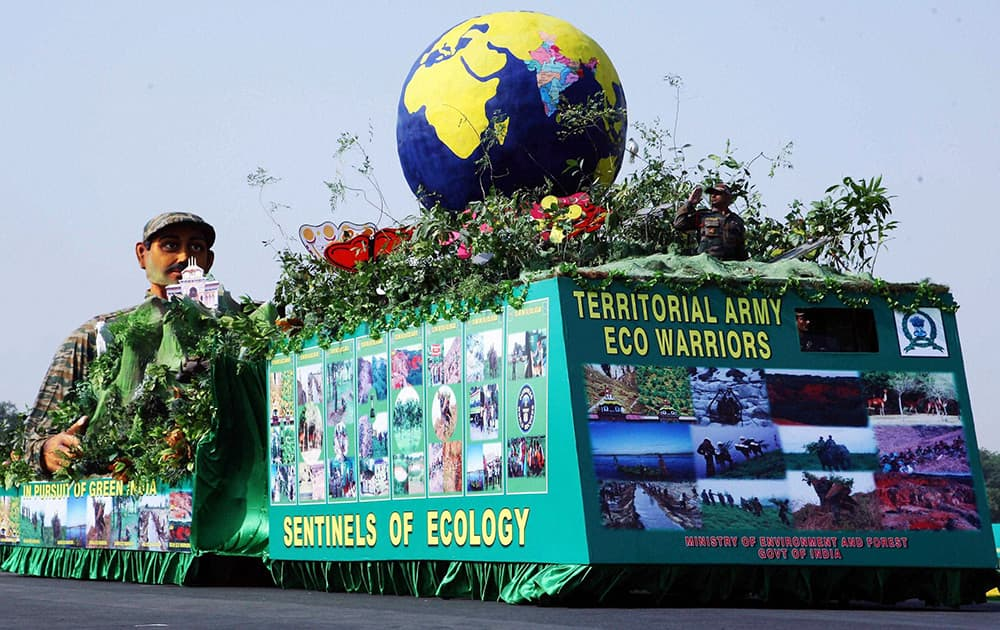 A tableau on display during 65th Territorial Army Raising Day Parade in New Delhi.