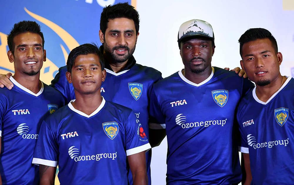 Bollywood actor and Chennaiyin FC co-owner Abhishiek Bachchan during the launch of the team jersey along with his team players in Mumbai.