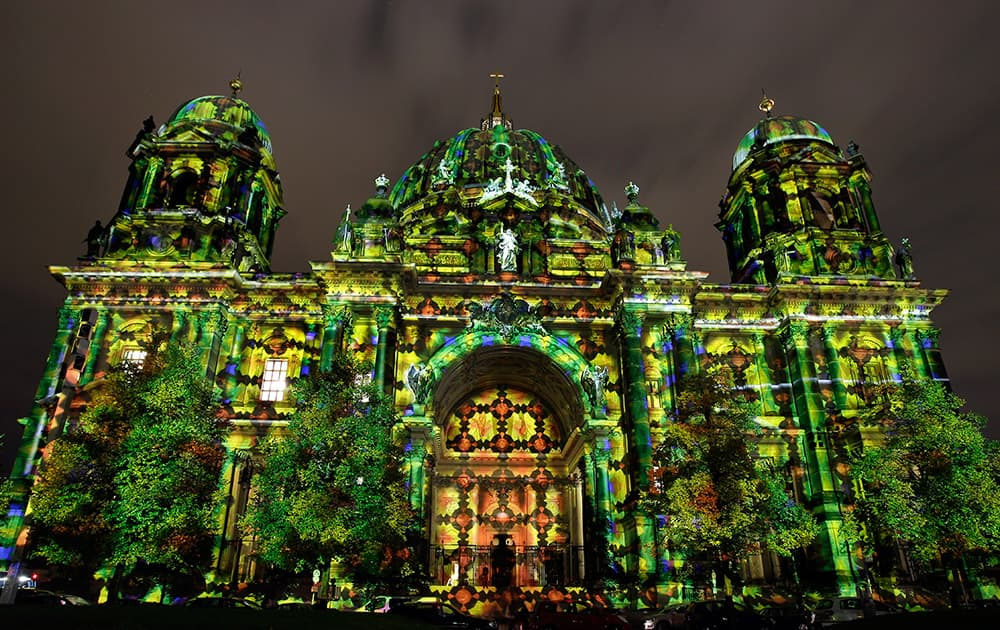 The Berlin Cathedra is illuminated on the eve of the official start of the 10th 'Festival of Lights' in Berlin, Germany.
