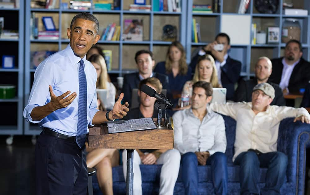 President Barack Obama speaks during an event at Cross Campus, a collaborative space that brings together freelancers, creative professionals, entrepreneurs and startup teams, in Santa Monica, Calif.