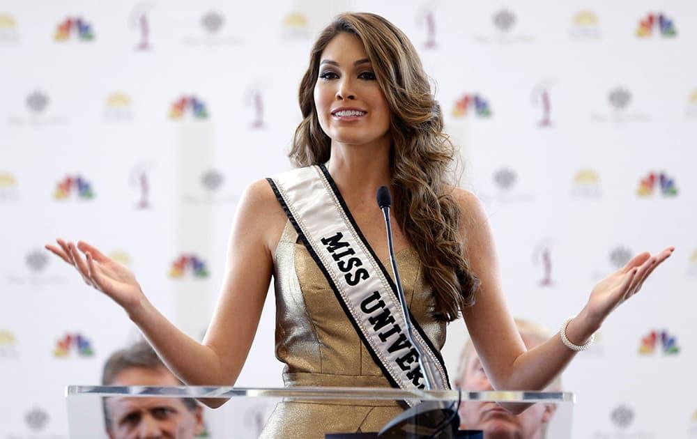 Miss Universe, Gabriela Isler, of Venezuela, speaks during a news conference.