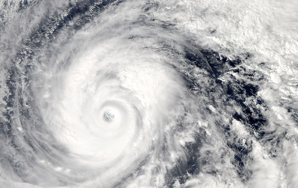 This image provided by NASA taken by the MODIS instrument aboard the Aqua satellite shows a visible image of Super Typhoon Vongfong, as it moved north through the Philippine Sea.