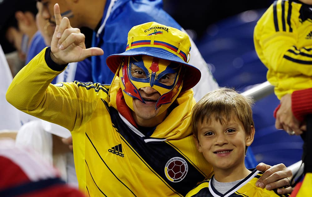 Spectators pose for a photograph prior to the start of an international soccer friendly match between Colombia and El Salvador at Red Bull Arena.