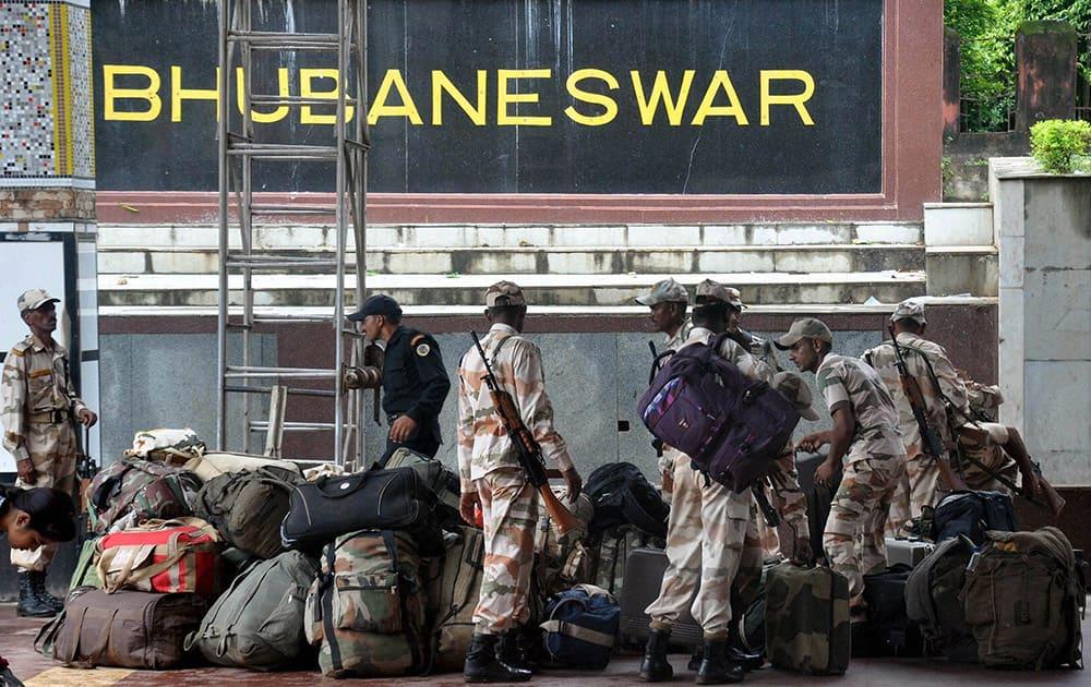 ITBP Jawans prepare to leave to help in cyclone Hudhud relief in Bhubaneswar.