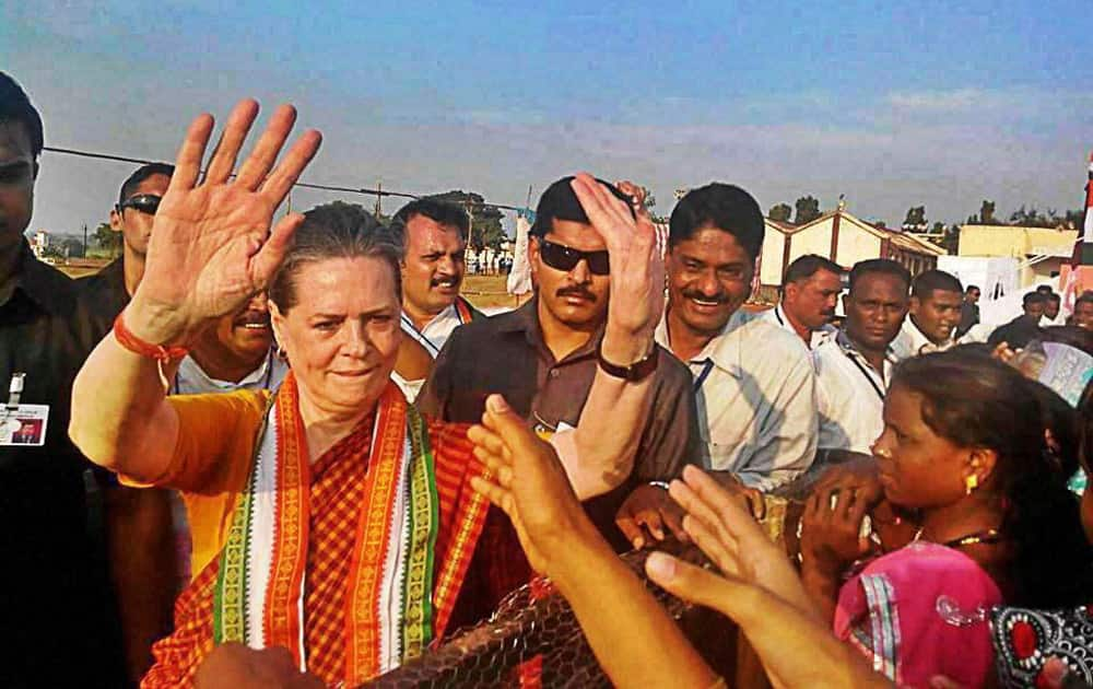 Congress President Sonia Gandhi meets supporters during an election campaign rally in Bramhapuri in Chandrapur district.