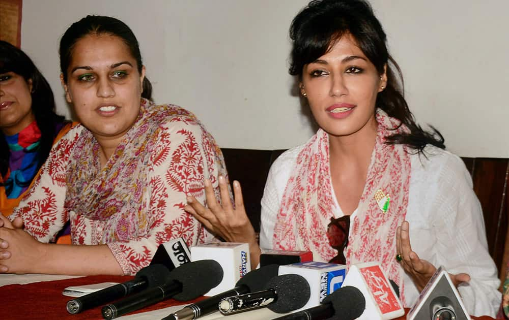 Bollywood actress Chitrangada Singh campaigns for congress candidate Nirmal Singh for assembly elections.