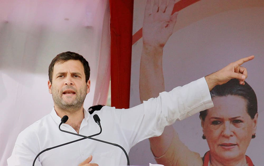CONGRESS VICE PRESIDENT RAHUL GANDHI ADDRESSES AN ELECTION CAMPAIGN RALLY IN RAMTEK, MAHARASHTRA.