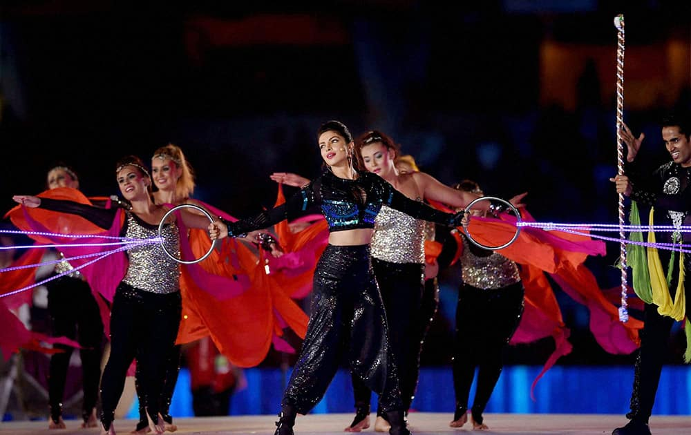 Bollywood actress Priyanka Chopra performs during the opening ceremony of Indian Super League 2014 in Kolkata.