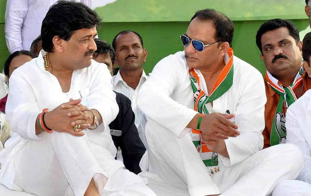 Congress leaders Ashok Chavan and Mohammad Azharuddin at an election campaign rally in Nanded, Maharashtra.