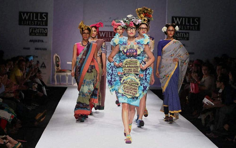 Models walk the ramp at Wills Lifestyle India Fashion Week in New Delhi.